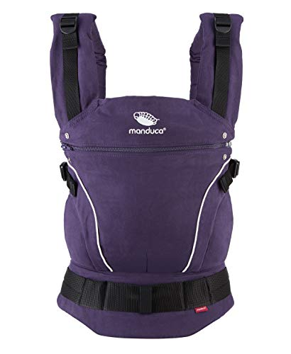 manduca First Baby Carrier > PureCotton < Mochila Portabebe Ergonomica, Algodón Orgánico, Extensión de Espalda Patentada, para Recién Nacidos y Bebés de 3,5 a 20 kg (PureCotton, Purple (purpúreo))