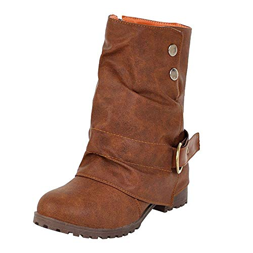 FORUU Fashion Warm Short Leather Boots Women Buckle Artificial Leather Patchwork Shoes Brown