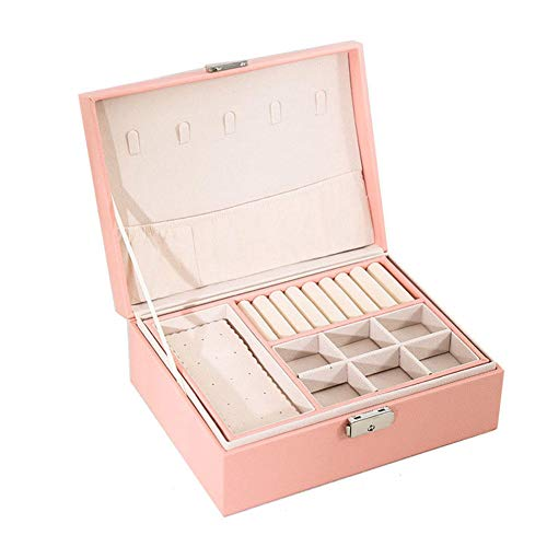 BAWAQAF Joyero, caja de joyería de cuero PU, soporte de exhibición doble de la joyería de las señoras, caja de almacenamiento portátil de gran capacidad, para pendientes, relojes, collares