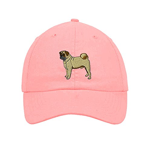 Speedy Pros Pug Embroidery Twill Cotton 6 Panel Low Profile Hat Soft Pink
