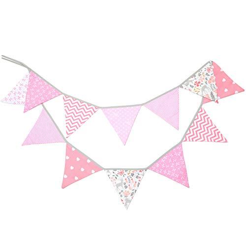 PREMYO Banderines de Tela Infantiles – Guirnaldas Decoración Habitación Bebé Niña – Triángulos Colores Rosa