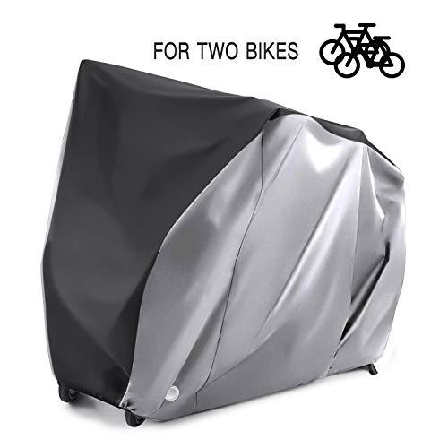 Alfheim Fahrradabdeckung für 2 fahrräder - 210D Nylon Schwerlast Draussen - Wasserdicht Atmungsaktiv Fahrradabdeckungen mit 2 Verriegelungslöchern - Anti Staub Regen Schnee UV mit Aufbewahrungstasche