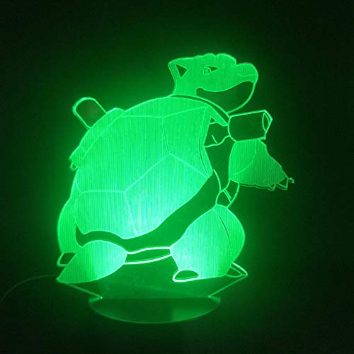3D Illusion Lamp Led Night Light Pokemon Water Arrow Turtle 7 Colors Fading Mood USB Touch Table Lamp Christmas Gift Best Birthday Holiday Gifts for Children