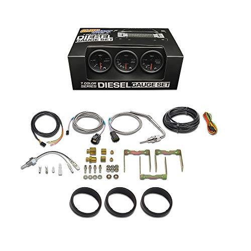 "GlowShift Black 7 Color Diesel Truck 3 Gauge Kit Set - 60 PSI Boost - 1500 F Pyrometer Exhaust Gas Temp EGT - Transmission Temperature - Black Dial - Clear Lens - 2-1/16"" 52mm"
