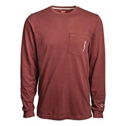small Timberland PRO A1HVN Base Plate Men's Long Sleeve T-shirt-Large-Maroon