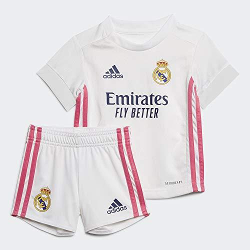 Adidas Real Madrid Temporada 2020/21 Equipación Completa Oficial, Niño, Blanco, 80 cm (Baby)