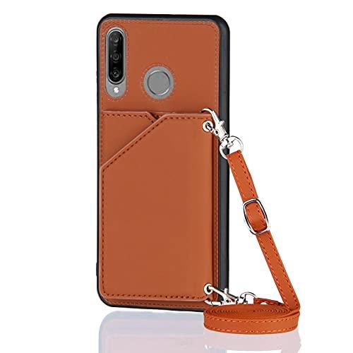 Funda para Huawei P30 Lite con Cuerda, Carcasa Cuero Premium PU Suave Case con Correa Colgante Ajustable Collar Correa de Cuello Cadena Cordón Ranuras para Tarjetas Anti-Choque Cover, Marrón