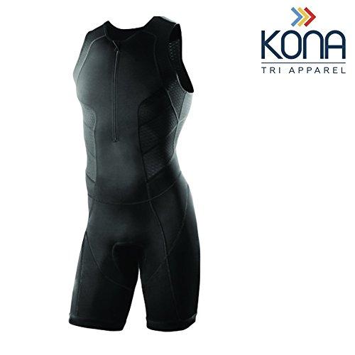 Kona Men's Triathlon Race Suit - Wetsuit Skinsuit Trisuit Sleeveless - One-Piece Vest and Short Combo That Half zips with a Rear Pocket for Storage (Black, Large)
