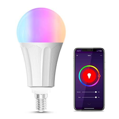 Lampadina Intelligente, Maxcio Lampadina WiFi E14, Lampadina Smart RGB 9W, Telecomando per Telefono, Controllo Vocale da Amazon Alexa&Google Home, Colorata, Funziona Condividere con la famiglia
