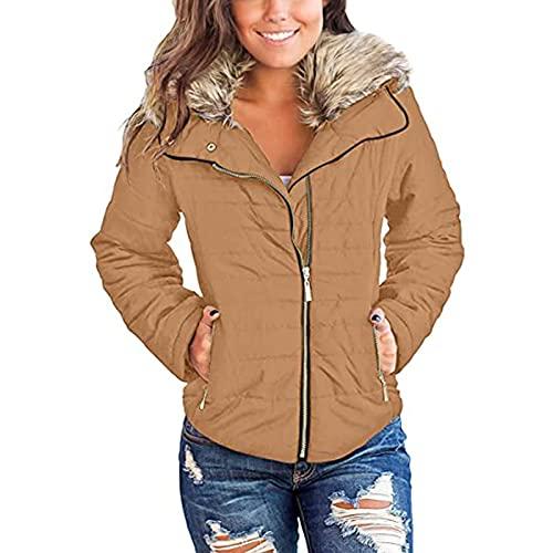Chaqueta con capucha de piel sinttica para mujer: Color slido cremallera botn solapa felpa chaqueta abrigo con bolsillos Wancooy, caqui, XL