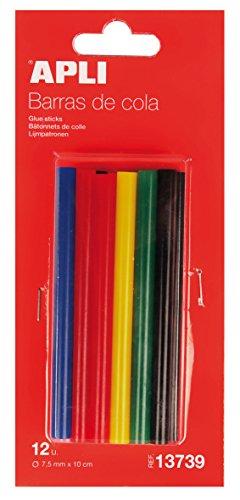 APLI 13739- Recambio barras de cola termofusible color surtido Ø 7,5 mm x 10 cm 12 barras