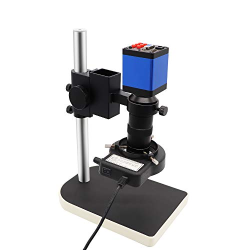 DIYPHONE HDMI VGA Electronic Digital Video Industrial Microscope Camera + C-Mount Lens + 56 LED Ring Light + Table Stand for Phone PCB Repair