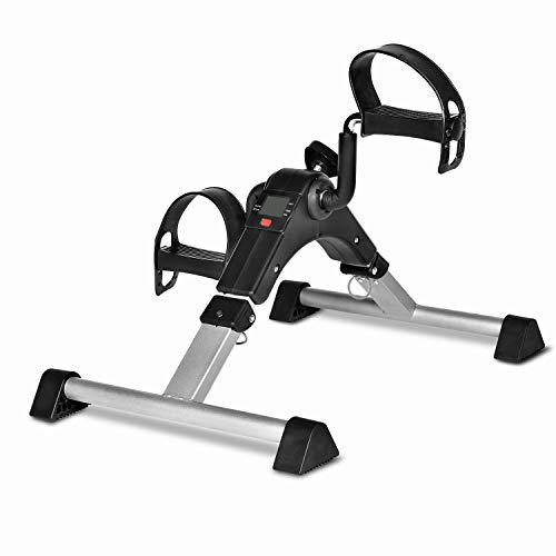 Mini Exercise Bike Foldable, Under Desk Bike Pedal Exerciser with Electronic Display for Home Exercise (Silver)
