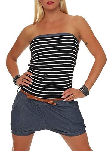 Malito Damen Einteiler kurz im Marine Design | Overall mit Gürtel | Jumpsuit im Jeans Look | Romper - Playsuit 9646 (schwarz)