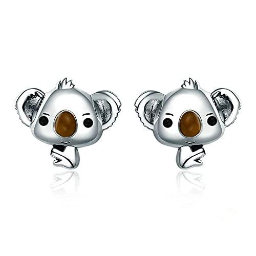 XCWXM Plata de Ley 925 Animal Lindo Oso Koala Pendientes de Tornillo señoras Regalo de joyería de Plata esterlina