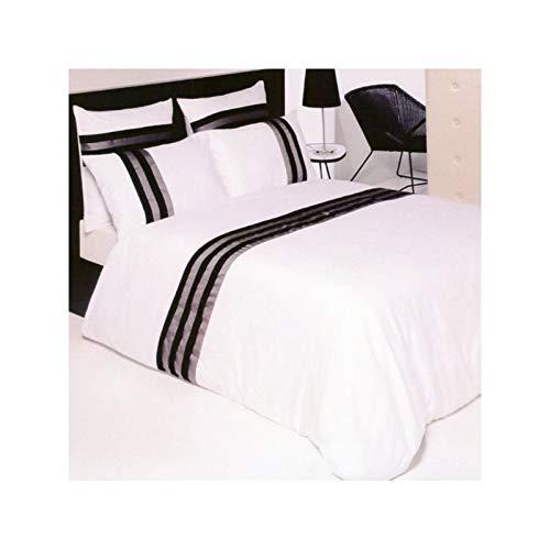 Drap House Housse de Couette Satin plissée 240x260 + 2 taies 65x65 Blanc-Noir-Gris - Couleur: Blanc-Noir-Gris
