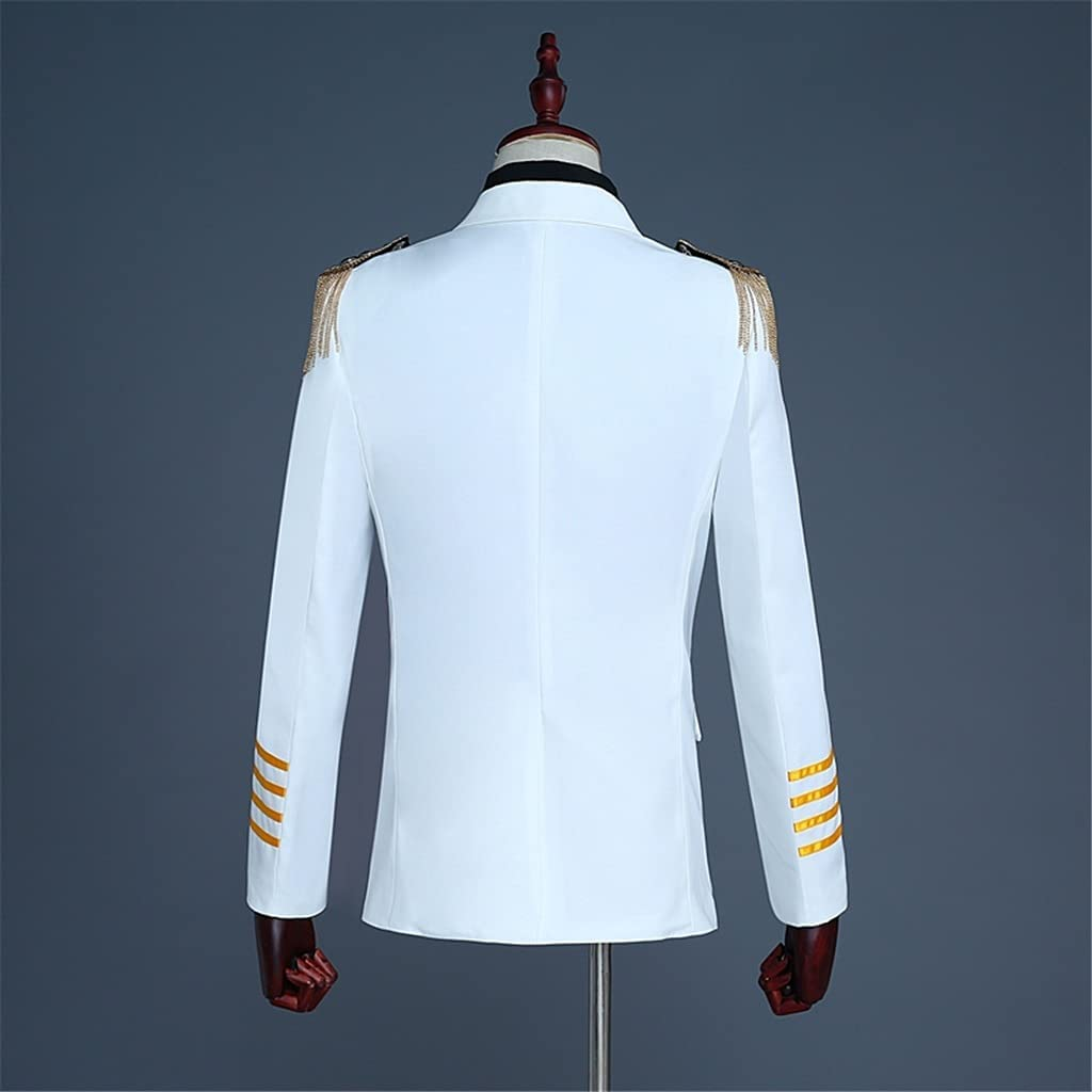 LEPSJGC Mens Skinny Captain Suits Men Groom Wedding Suit Blazer Slim Fit Double Breasted Jacket (Color : White, Size : M code)