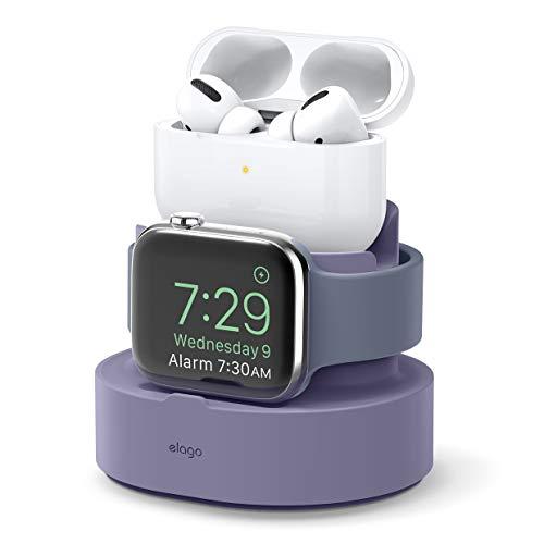 elago Stand 2 in 1 Dock Station Apple Watch e AirPods Pro Supporto, Caricatore per Apple AirPods Pro, tutti i modelli iPhone, Tutte Le Serie di Apple Watches Base (Cavi Non Inclusi)(Lavanda Grigio)