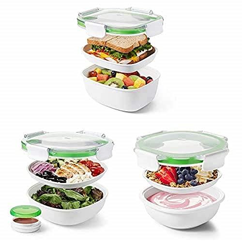 OXO Good Grips Contenedor de Viaje Para Almuerzo + Contenedor de Viaje Para Ensalada + Recipiente para refrigerios
