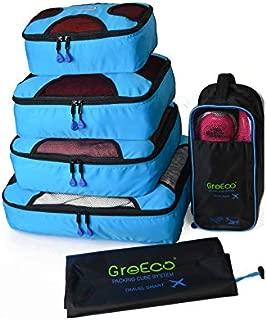 4 Pcs Packing Cubes Plus 1 Pc Laundry Bag and 1 Pc Shoe Bag Aqua Blue
