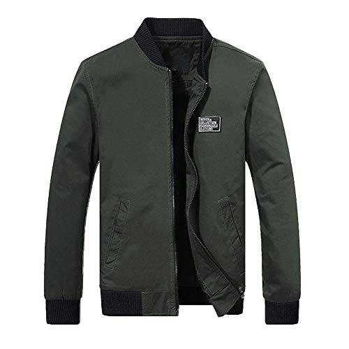 Skxinn Herren Jacke Übergangsjacke Kunstleder Stehkragen Parka Jacke WindbreakerMantel Jacket Coat Gr M-6XL(Z04-Armeegrün,XXXX-Large)