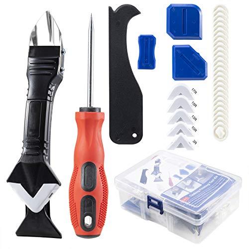 3 in 1 Silikonentferner Werkzeug Set (Edelstahlkopf)- Profi Silikon Caulking Werkzeug Kit für Küche Bad Boden Fliesen mit Silikon Fugenwerkzeug, Kratzahle, Silikon Fugenglätter, 25 Latex Fingerbetten
