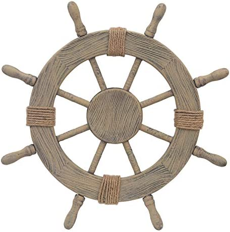 Adeco Ornamental Wooden Nautical Ship Steering Wheel 24 Inch Home Wall Decor Brown product image