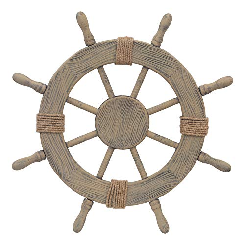 Adeco Ornamental Wooden Nautical Ship Steering Wheel, 24-Inch Home Wall Decor, Brown Mississippi