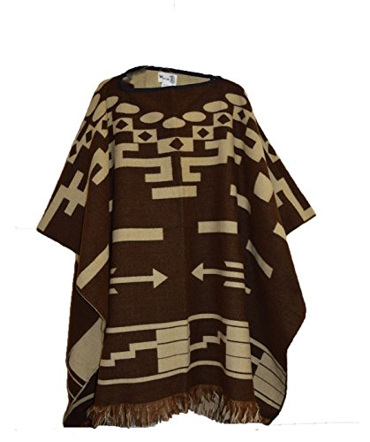 Wigwam Cool Poncho hecho a mano estilo mexicano Marrón