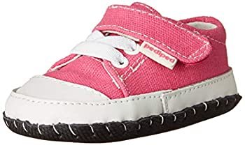 pediped Baby Girls Sneaker Crib Shoe Raspberry 6 Months-12 Months Infant