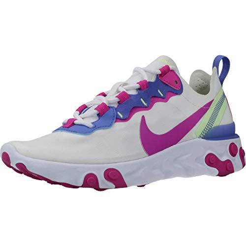 Nike Damen React Element 55 Women's Shoe Laufschuh, White/fire pink-Sapphire-Barely Volt, 38 EU