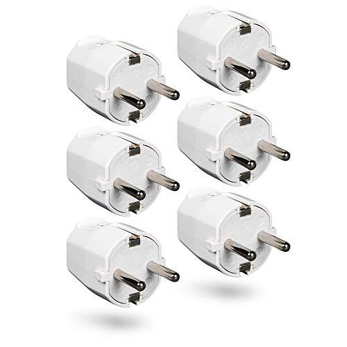HEITECH PVC Schutzkontakt Stecker bruchsicher - 6x Schutzkontaktstecker weiß, 250V, 16A, IP20 für Innenbereich - Schuko Stecker