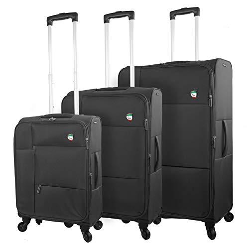 Mia Toro Italy Adige Softside Spinner Luggage 3Pc Set Suitcase, 81 cm, Black