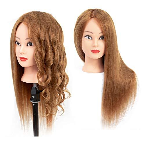 22 pouces cheveux formation tête pratique mannequin coiffure poupées tête avec support de serrage