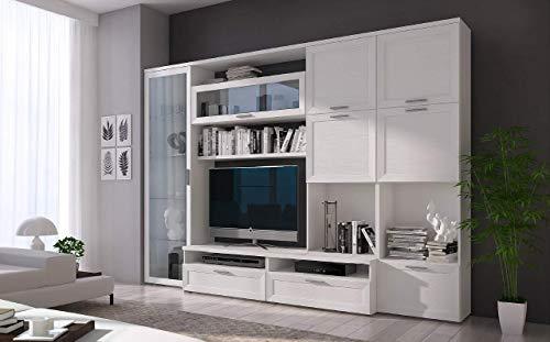 Am Group Home Parete attrezzata Millenium Mobile Soggiorno Completo Moderna Zona Giorno Porta TV Salotto Design Elegante Finitura Bianco Frassino