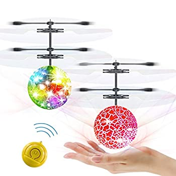 Slepwel Flying Ball Kids Toys RC Infrared Induction UFO Helicopter Airplane Shining Colorful Rechargeable Flying Drone with Remote Controller for Kids Boys Girls Gifts Play Indoor Outdoor-2 pcs