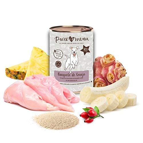 Comida húmeda para Perros (12x400g)   con 80% de Carne de Conejo   Sin Cereales   Sin Patata   Sin aditivos   Monoproteico   12 latas de 400g