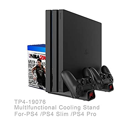 KAR Multi-Function Charger Charging Station, Fan Cooler Dual Controller Charge with LED Lights PS4/PS4 Slim/PS4 PRO Vertical Stand