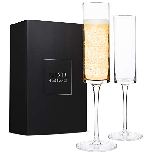 Champagne Flutes, Edge Champagne Glass Set of 2 - Modern & Elegant Gift for Women, Men, Wedding, Anniversary, Christmas, Birthday - 6oz, 100% Lead Free Crystal