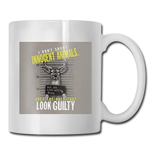 I Don 't Shoot Taza de animales inocentes, taza de café para bebidas calientes, taza de gres, taza de café de cerámica, taza de té de 11 oz, regalo divertido, taza de café y té