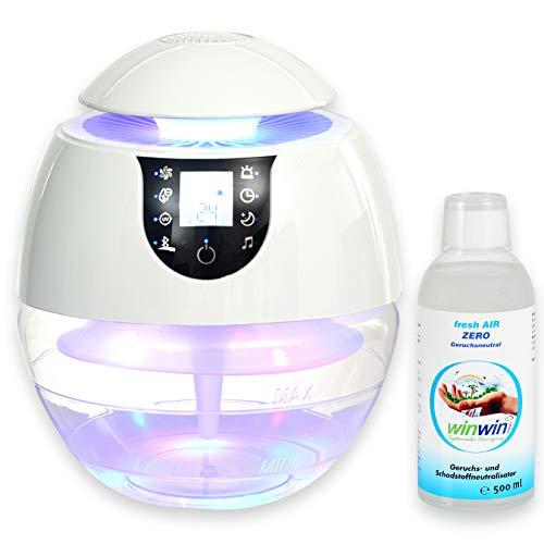 winwin clean Systemische Reinigung - AIR Blow III I Bluetooth I IONISATOR I LED I 3 LEISTUNGSSTUFEN I INKL. LUFTREINIGUNGS-Konzentrat Fresh AIR \'Zero\' 500ML