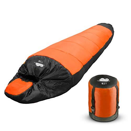 TDW Outdoor Schlafsack, Camping Mumienschlafsack für Outdoor Reise Trekking Winter Sommer Vier Jahreszeiten - Wasserdicht Warm Schlafsack für Erwachsene, Orange