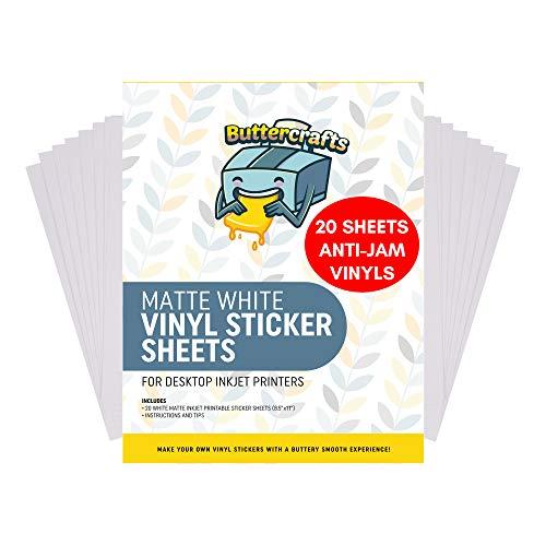 Printable Vinyl for Inkjet Printer (Matte White   Waterproof   20 Sheets) - Inkjet Printable Vinyl Avoid Jams for Printers   Printable Waterproof Vinyl Sticker Paper for Cricut and Silhouette