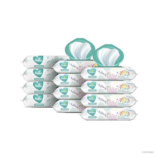 Baby Wipes, Pampers Sensitive Water Based Baby Diaper Wipes, Hypoallergenic and Unscented, 8X Pop-Top Packs with 4 Refill Packs for Dispenser Tub, 864 Total Wipes (Packaging May Vary)