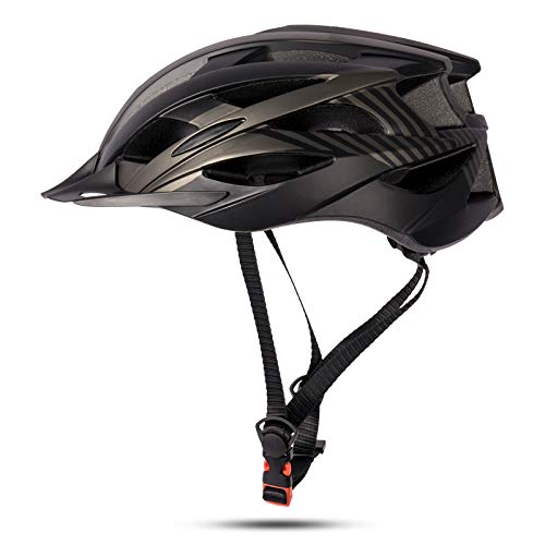 MOKFIRE Kids Bike Helmet for Boys Girls with Detachable Visor& Rear Light,CPSC Certified Bicycle Helmet for Mountain Road Cycling,Adjustable Size Youth Cycle Helmets (21.25-22.44inch)-Black Titanium