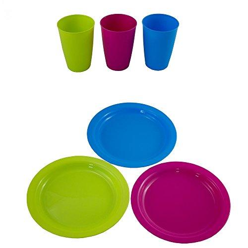 24 TLG. 36tlg. oder 12tlg. Set Teller und-oder Becher aus Kunststoff in DREI fröhlichen Sommerfarben - Kunststoffteller Plastikteller Kunststoffbecher Plastikbecher (12 x Teller + 12 x Becher)