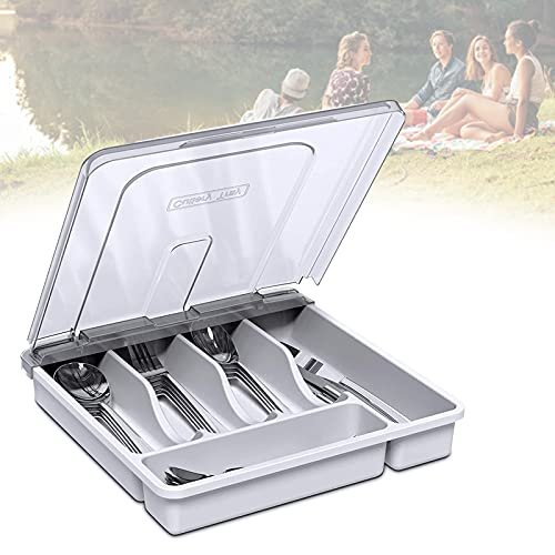 EnweLampi Picnic Storage Box for Kitchen Cutlery, Plastic Cutlery Tray with Lid, Knife/Spoon/Fork Divider Organiser, Easy To Carry & Travel,White