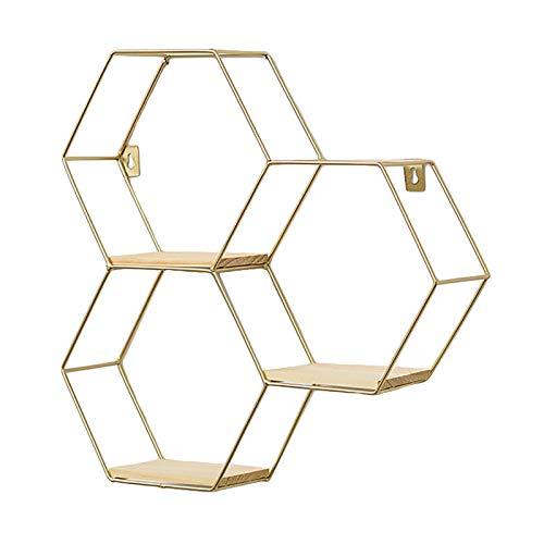 SWECOMZE Wandregal aus Metall, Schweberegal Küchenregal, Gold Holz Dekorativ Schwimmregal Hängeregal Wand Deko für Schlafzimmer Wohnzimmer Flur Büro (3-Bienenwabe-Gold)