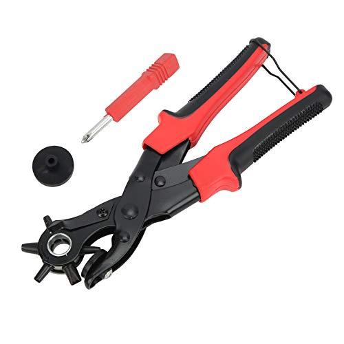 Juego de perforadores de cuero para zapatos de cuero, etiquetas, cinturones, bandas, correas, collares, sillas de montar, alicates para perforar cinturones de artesanía en cuero