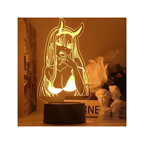 HOKVJ Anime Zero Two 3D Ilusión Lámparas De Luz Led Figura Luz Nocturna Niños Niñas Manga Regalo Luces De Noche Lámpara Darling In The Franxx